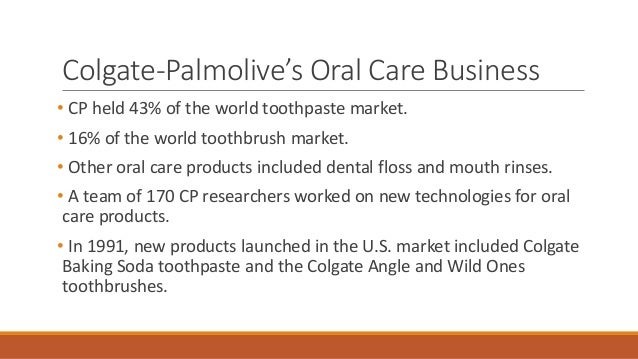 strategic marketing paper on colgate palmolive company Free essay: these products serve consumers who have different oral priorities  and problems to date, the company continues to introduce.