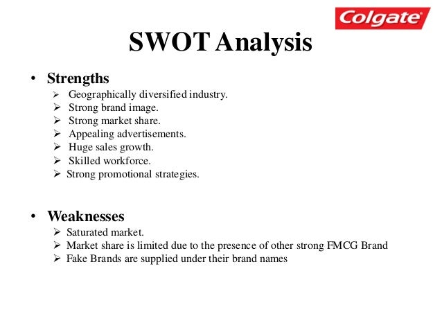 swot analysis of colgate Competitive analysis of colgate-palmolive techniques include swot analysis and value innovation curves colgate-palmolive competitive analysis.