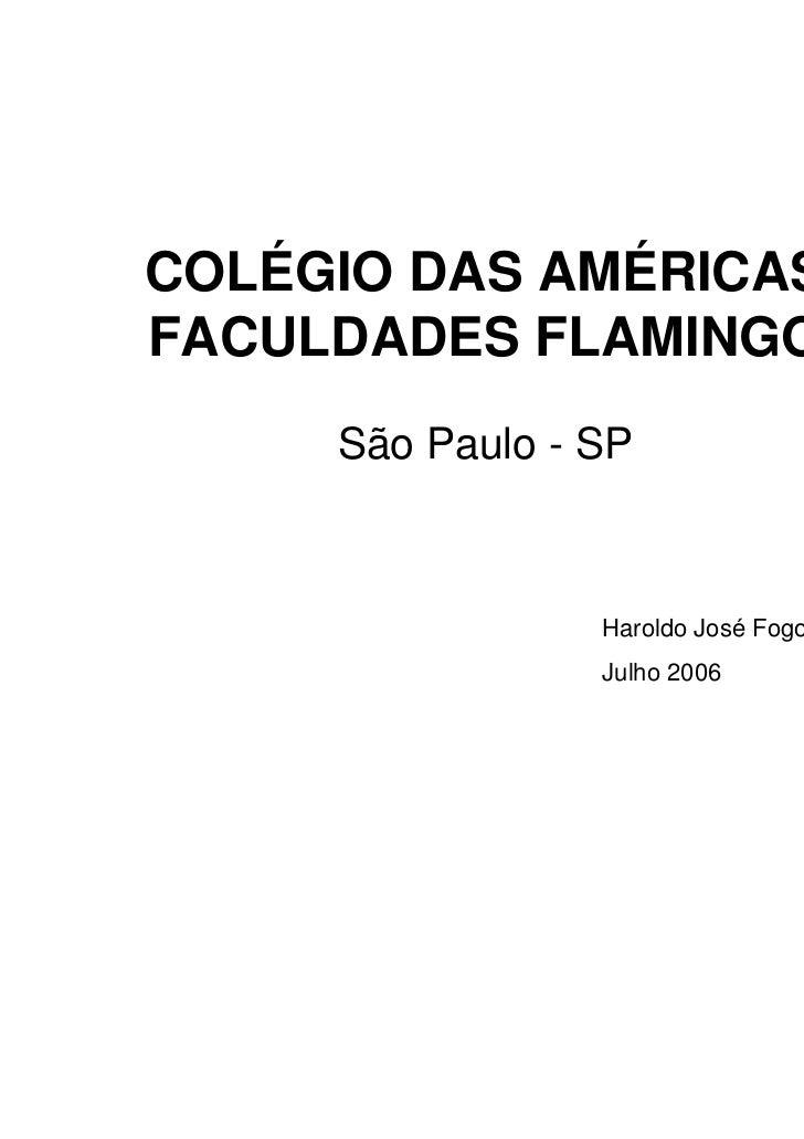 COLÉGIO DAS AMÉRICASFACULDADES FLAMINGO     São Paulo - SP                 Haroldo José Fogo                 Julho 2006