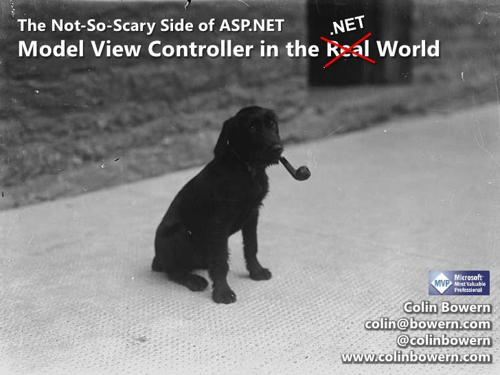.NET<br />The Not-So-Scary Side of ASP.NETModel View Controller in the Real World<br />Colin Bowern<br />colin@bowern.com<...