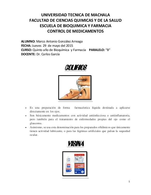 1 UNIVERSIDAD TECNICA DE MACHALA FACULTAD DE CIENCIAS QUIMICAS Y DE LA SALUD ESCUELA DE BIOQUIMICA Y FARMACIA CONTROL DE M...