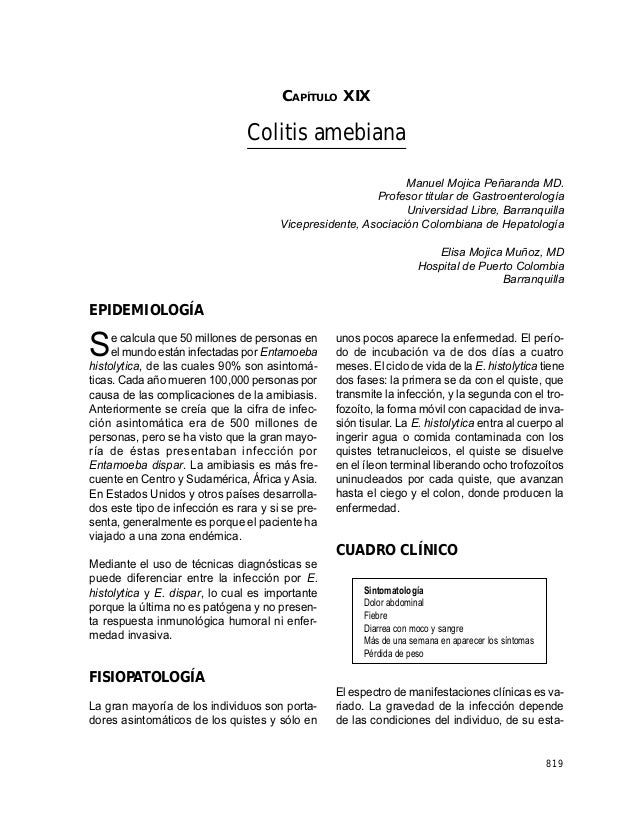 CAPÍTULO XIX: COLITIS AMEBIANA                                       CAPÍTULO XIX                                Colitis a...