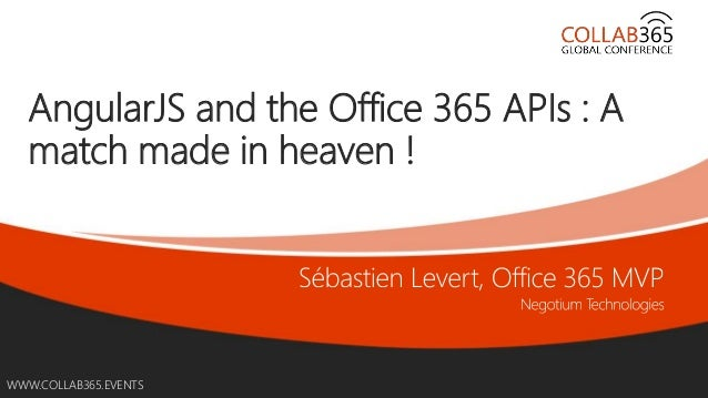 WWW.COLLAB365.EVENTSWWW.COLLAB365.EVENTS AngularJS and the Office 365 APIs : A match made in heaven !