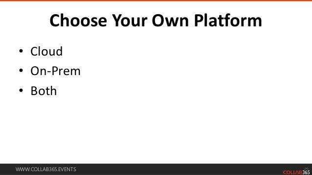 WWW.COLLAB365.EVENTS Choose Your Own Platform • Cloud • On-Prem • Both