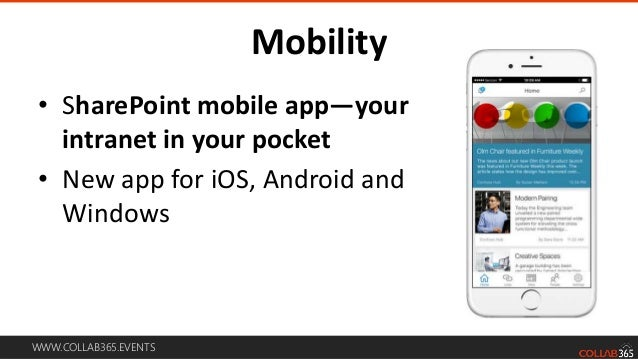 WWW.COLLAB365.EVENTS Roadmap for the mobile and intelligent intranet