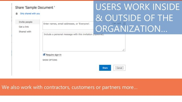 We also work with contractors, customers or partners more… USERS WORK INSIDE & OUTSIDE OF THE ORGANIZATION…