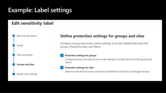 Example: Label settings