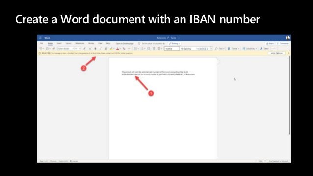 Create a Word document with an IBAN number