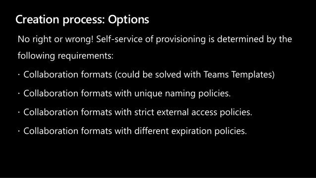 Creation process: Options
