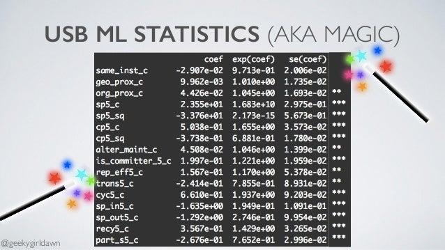USB ML STATISTICS (AKA MAGIC) @geekygirldawn
