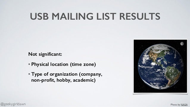 USB MAILING LIST RESULTS Not significant: • Physical location (time zone) • Type of organization (company,  non-profit, hob...