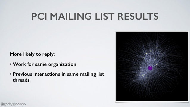 PCI MAILING LIST RESULTS More likely to reply: • Work for same organization • Previous interactions in same mailing list t...
