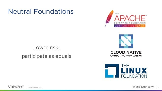 ©2020 VMware, Inc. @geekygirldawn Lower risk: participate as equals 6 Neutral Foundations