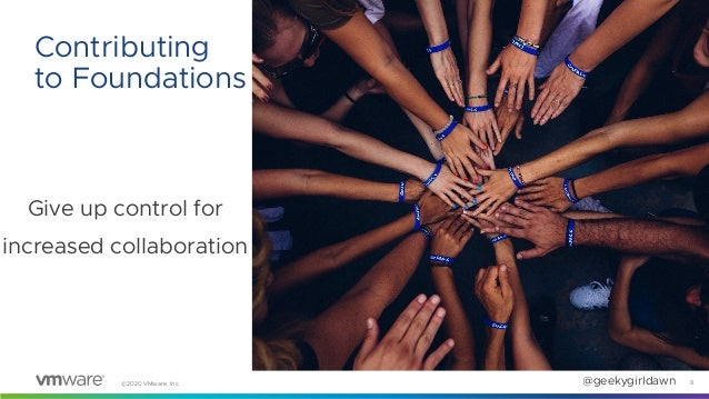 ©2020 VMware, Inc. @geekygirldawn Give up control for increased collaboration 8 Contributing to Foundations