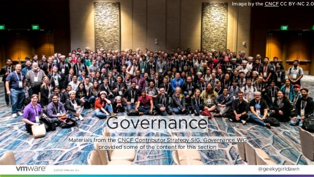©2020 VMware, Inc. @geekygirldawn Image by the CNCF CC BY-NC 2.0 Governance Materials from the CNCF Contributor Strategy S...