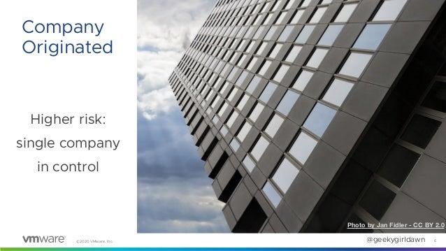 ©2020 VMware, Inc. @geekygirldawn Higher risk: single company in control 6 Company Originated Photo by Jan Fidler - CC BY ...