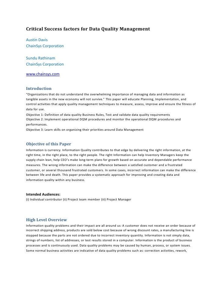 Critical Success factors for Data Quality ManagementAustin DavisChainSys CorporationSundu RathinamChainSys Corporationwww....