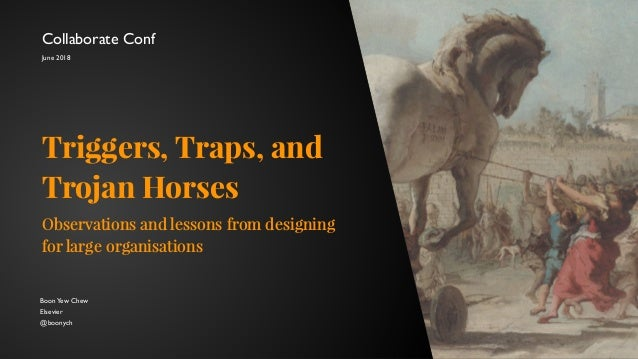 BoonYew Chew Elsevier @boonych Triggers, Traps, and Trojan Horses Observations and lessons from designing for large organi...