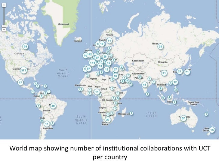 World map showing number of institutional collaborations with UCT                        per country