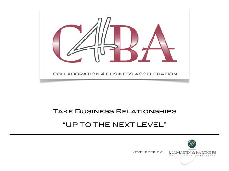 "Take Business Relationships  ""UP TO THE NEXT LEVEL""                 Developed by:"