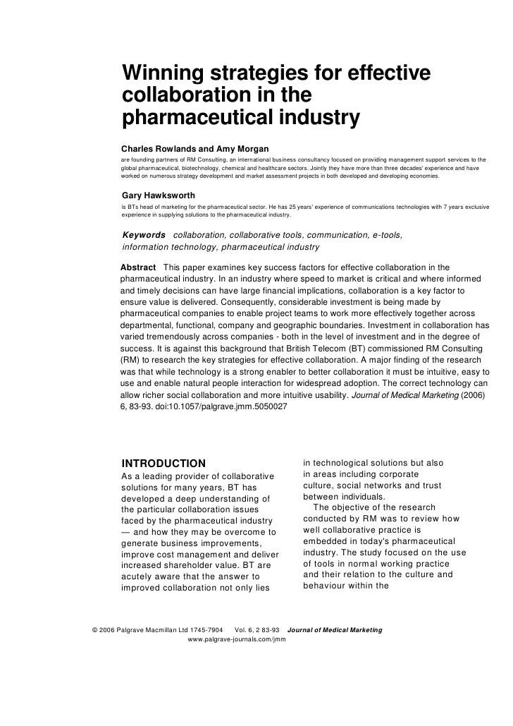 Winning strategies for effective        collaboration in the        pharmaceutical industry        Charles Rowlands and Am...
