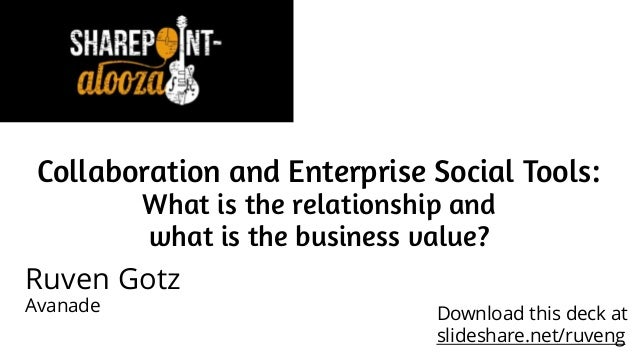 Collaboration and Enterprise Social Tools: What is the relationship and what is the business value? Ruven Gotz Avanade Dow...
