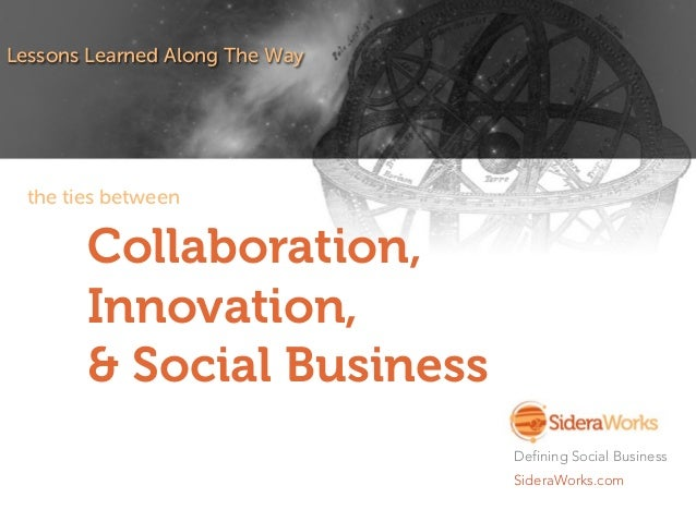 Collaboration, Innovation, & Social Business Lessons Learned Along The Way Defining Social Business SideraWorks.com the ti...