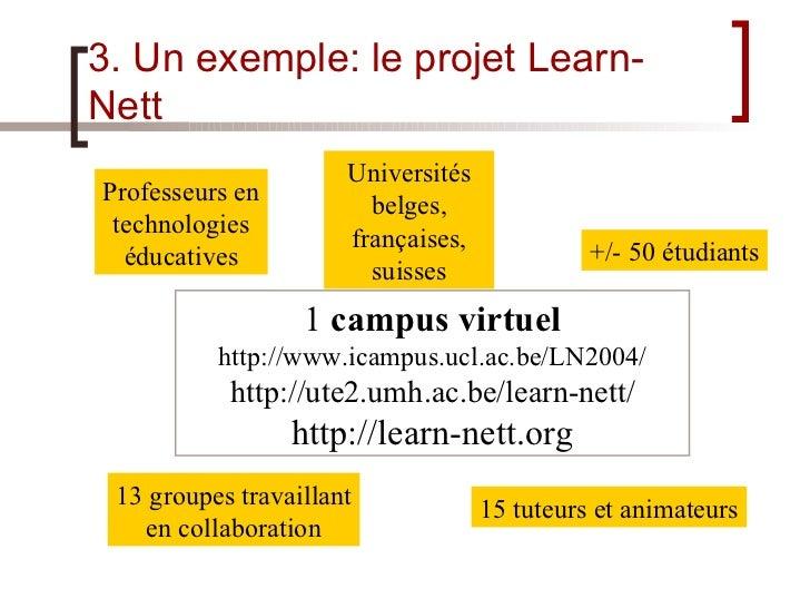 3. Un exemple: le projet Learn-Nett Universités belges, françaises, suisses +/- 50  étudiants 15  tuteurs et animateurs 13...