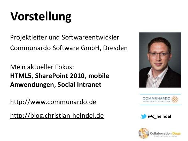 Collaboration Days 2011 - Mobile Anwendungen für SharePoint mit HTML5 Slide 2