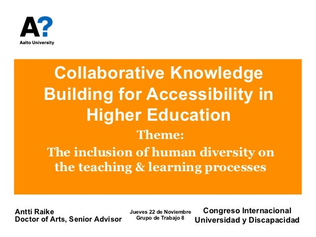 Collaborative Teaching Powerpoint ~ Collaborative knowledge building for accessibility in