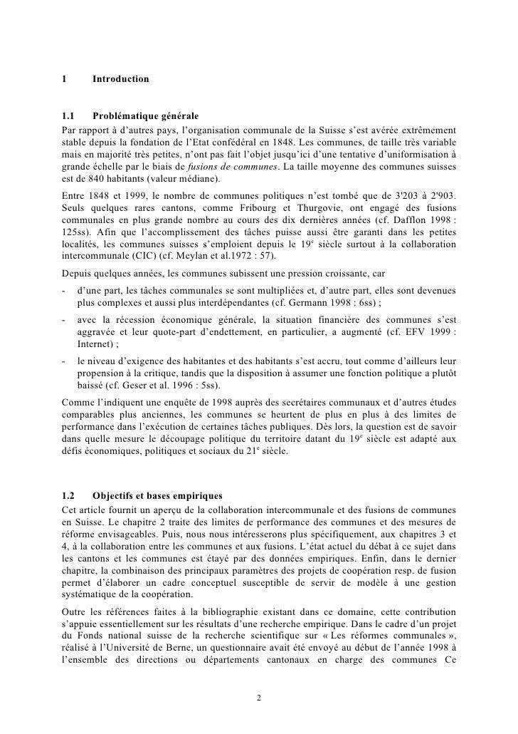 Collaboration intercommunale et fusion de communes en suisse Slide 2