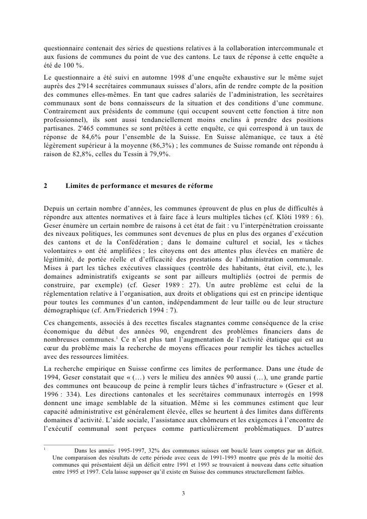 Collaboration intercommunale et fusion de communes en suisse Slide 3