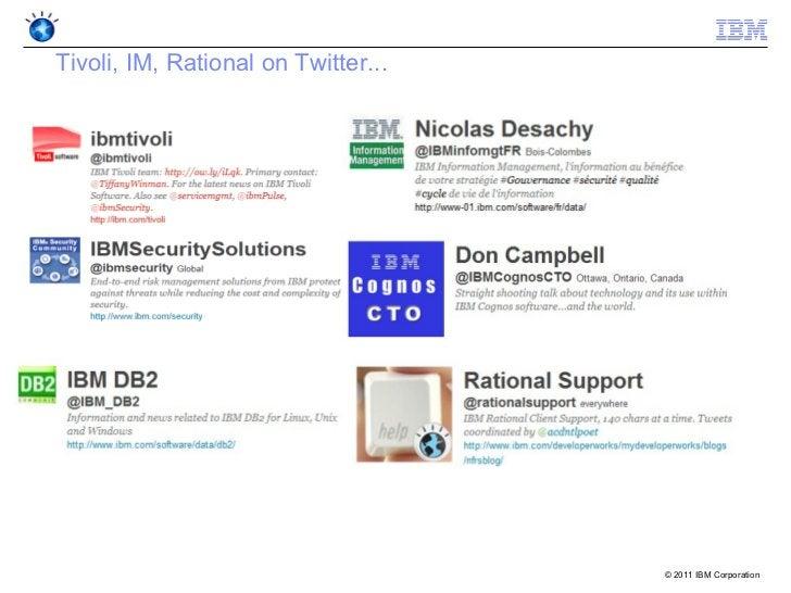 Tivoli, IM, Rational on Twitter...                                     © 2011 IBM Corporation