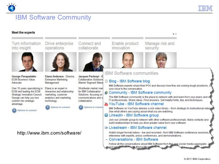 IBM Software Communityhttp://www.ibm.com/software/                               © 2011 IBM Corporation