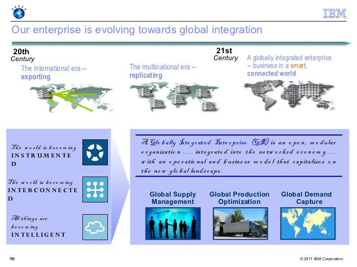 Our enterprise is evolving towards global integration  20th                                                          21stC...