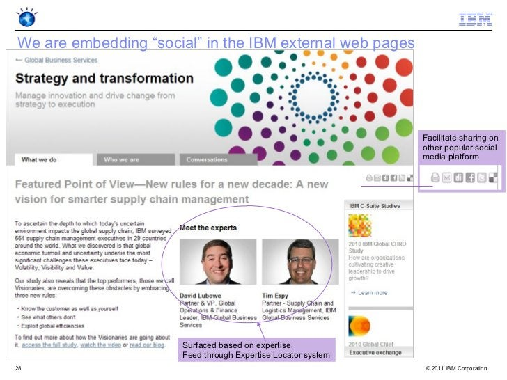 """We are embedding """"social"""" in the IBM external web pages                                                              Facil..."""