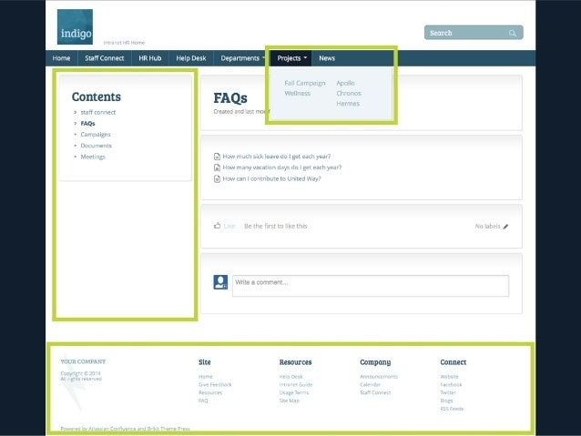 MAKE IT SIMPLE (CONTINUED)  • group spaces into sub-sites  • own menus, layouts, footers, etc.  • incrementally reveal com...