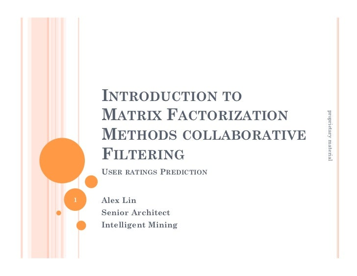 INTRODUCTION TO    MATRIX FACTORIZATION                              proprietary material    METHODS COLLABORATIVE    FILT...