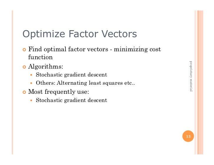 Optimize Factor Vectors Find optimal factor vectors - minimizing cost   function                                        ...