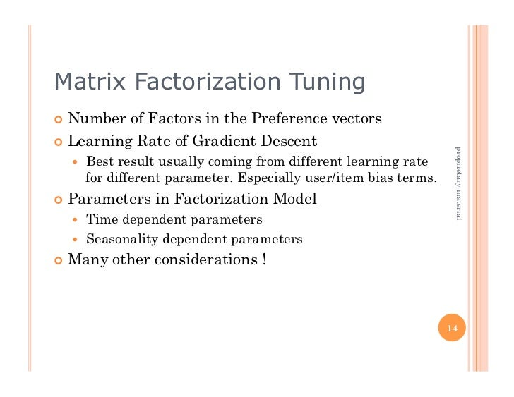 Matrix Factorization Tuning Number  of Factors in the Preference vectors Learning Rate of Gradient Descent            ...