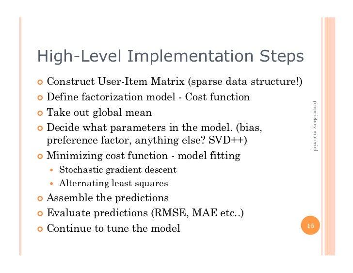 High-Level Implementation Steps Construct  User-Item Matrix (sparse data structure!) Define factorization model - Cost...
