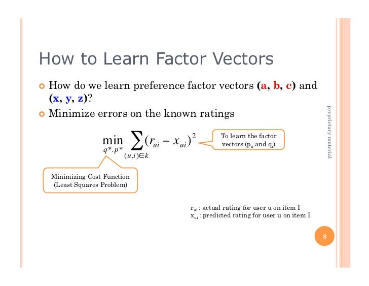 How to Learn Factor Vectors How do we learn preference factor vectors (a, b, c) and   (x, y, z)?                        ...