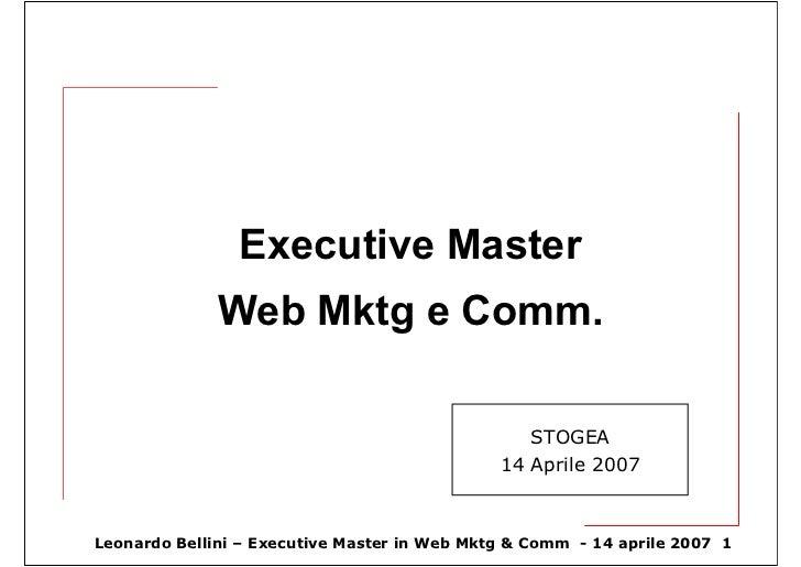 Executive Master               Web Mktg e Comm.                                                   STOGEA                  ...