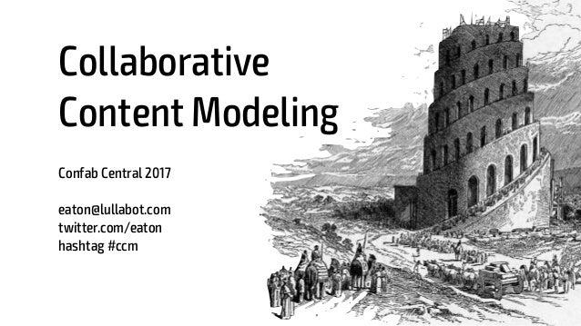 Collaborative Content Modeling Confab Central 2017 eaton@lullabot.com twitter.com/eaton hashtag #ccm 1
