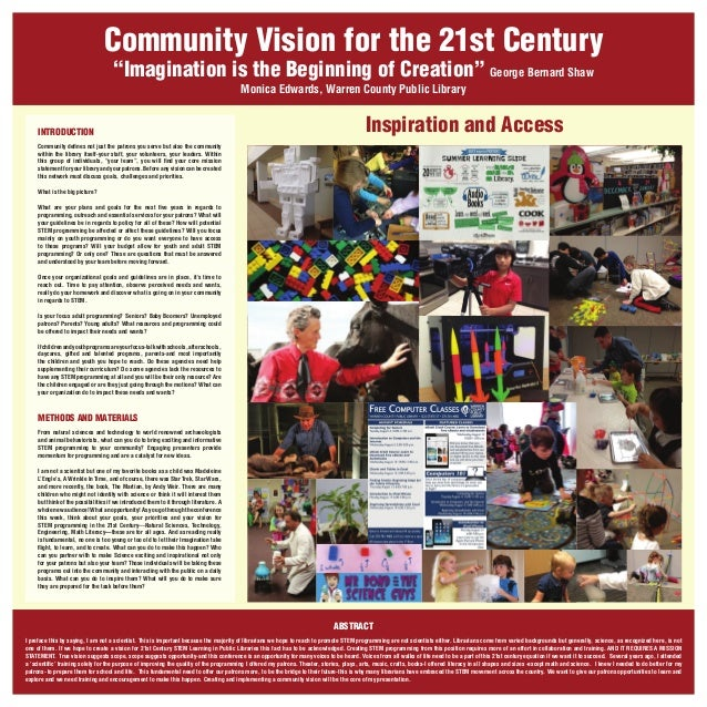 """Community Vision for the 21st Century """"Imagination is the Beginning of Creation"""" George Bernard Shaw Monica Edwards, Warre..."""