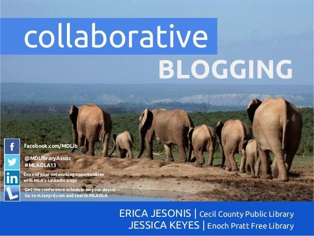 BLOGGINGERICA JESONIS   Cecil County Public LibraryJESSICA KEYES   Enoch Pratt Free Librarycollaborativefacebook.com/MDLib...