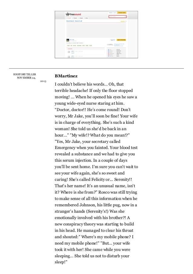 EOISTORY TELLER NOV EMBER24,  BMartinez 201 3  Icouldn'tbelievehiswords…Oh,that terribleheadache!Ifonlythefloo...