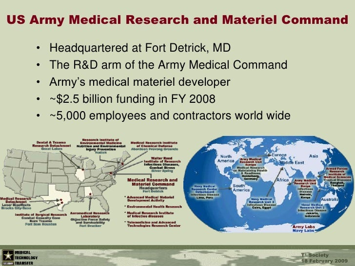 1<br />US Army Medical Research and Materiel Command<br />Headquartered at Fort Detrick, MD<br />The R&D arm of the Army M...