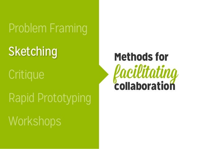 Methods for facilitating collaboration Sketching Critique Problem Framing Workshops Rapid Prototyping