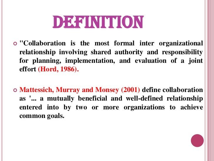 definition of collaborative working relationship